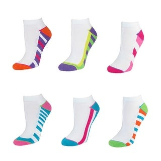 Jefferies Socks Women's Tech Sport Ankle Socks (Pack of 6) - white multi - Large