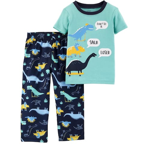 Carter's Little Boys' 2-Piece Dino Cotton & Poly PJs