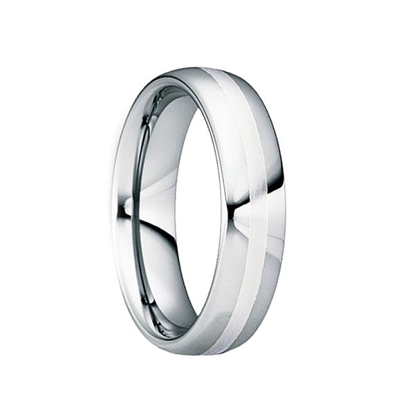 TIBURTIUS Polished Tungsten Carbide Wedding Ring with Satin Platinum Inlay by Crown Ring - 6mm