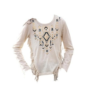 Cruel Girl Western Shirt Girls Long Sleeve Fringe Cream