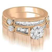 2.30 cttw. 14K Rose Gold Antique Round And Baguette Cut Diamond Bridal Set