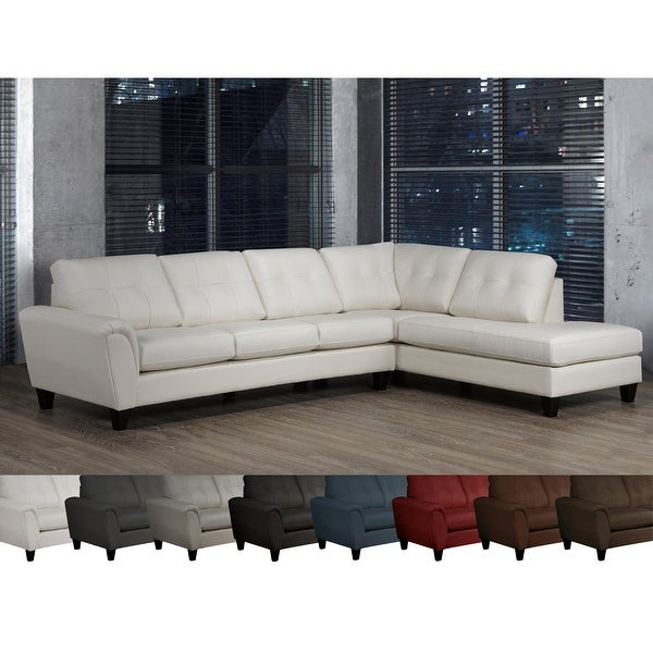 Tory Top Grain Leather Tufted Left/ Right-facing Sectional Sofa. Opens flyout.