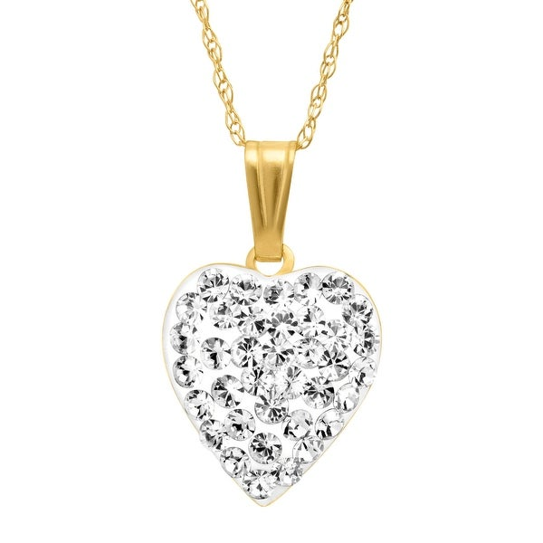 Crystaluxe Puffed Heart Pendant with Swarovski Crystals in 14K Gold