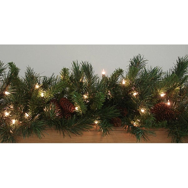 "9' x 14"" Pre-Lit Cheyenne Pine Artificial Christmas Garland - Clear Dura Lights"