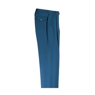Teal Wide Leg Pure Wool Dress Pants by Tiglio Luxe