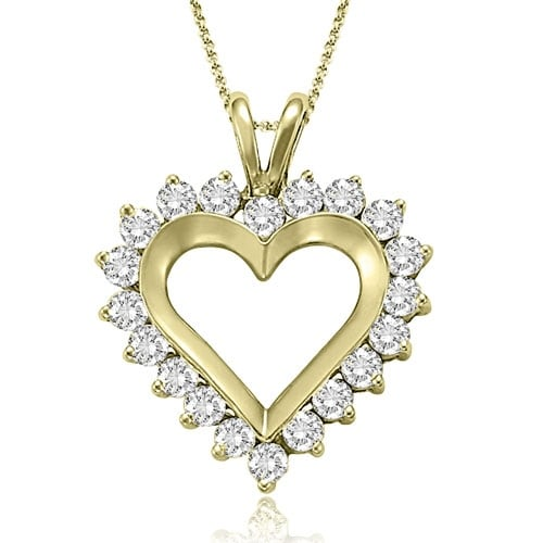 1.00 cttw. 14K Yellow Gold Round Cut Diamond Heart Shape Pendant