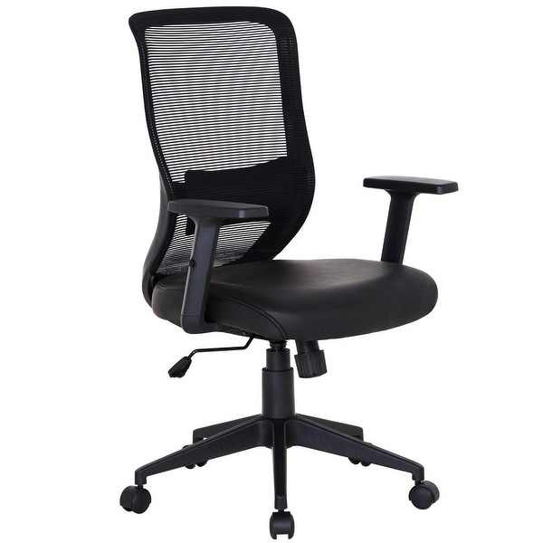 Vecelo Office Chairs Adjule Swivel Black Mesh Home Conference Room Task Pu