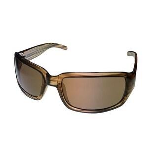Levi Mens Sunglass LS143 2 Brown with Black Stripe Rectangle Plastic, Brown Lens - Medium