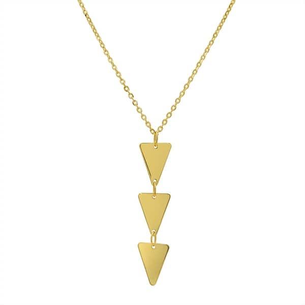 c479e78682e62 Shop Amanda Rose Triple Triangle Pendant-Necklace in 14k Yellow Gold ...