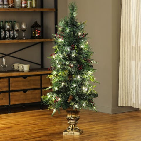 4Ft Artificial Pine Christmas Tree with 100 LED light Holiday Decoration