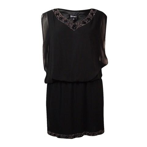 S.L. Fashions Women's Beaded Chiffon V-Neck Blouson Dress - Black