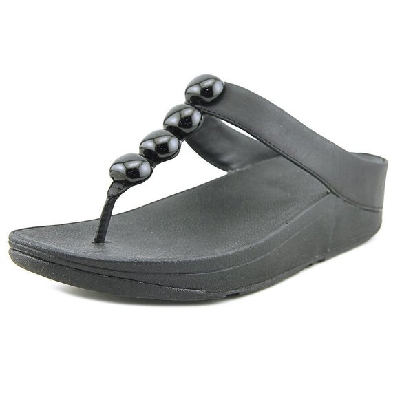 FitFlop Rola Women Open Toe Leather Black Thong Sandal