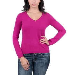 Real Cashmere Fuschia V-Neck Womens Sweater