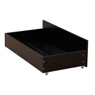 2 Pack 10.63'' High Composite Wood Under-bed Storage Drawer Organizer with Wheels Black