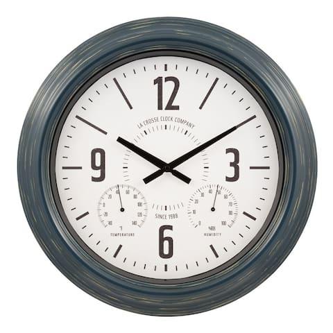 "La Crosse Clock 433-3838 18"" Hamilton Indoor/Outdoor Metal Quartz Clock"