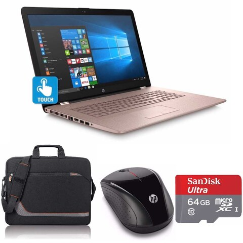 """HP 17-bs027 Core i5-7200 2TB HDD 17.3"""" TouchScreen Laptop Bundle with Office 365 (Refurbished) - Pink"""