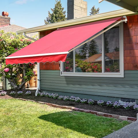 Outsunny 13' x 8' Manual Retractable Sun Shade Patio Awning with Durable Design & Adjustable Length Canopy, Wine Red