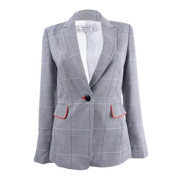 f440ed5a3fdf0 Shop Tahari ASL Women s Contrast-Trim Plaid Blazer - Grey Ivory Black - On  Sale - Free Shipping Today - Overstock - 25781610