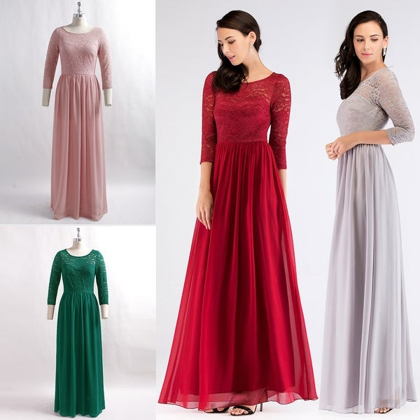 Ever-Pretty Women's Lace Long Sleeve Evening Party Bridesmaid Maxi Dress 07680
