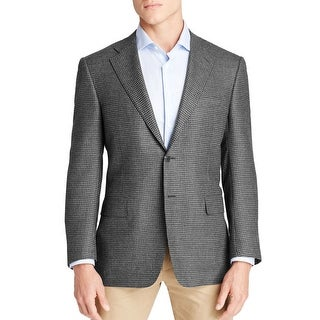 Ralph Lauren Grey Black Silk Wool Houndstooth Sportcoat Blazer 42 Regular 42R