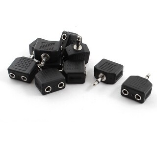 "Unique Bargains 10Pcs 3.5mm 1/8"" Stereo Male Plug to 3.5mm Dual Female Jack Splitter Connector"