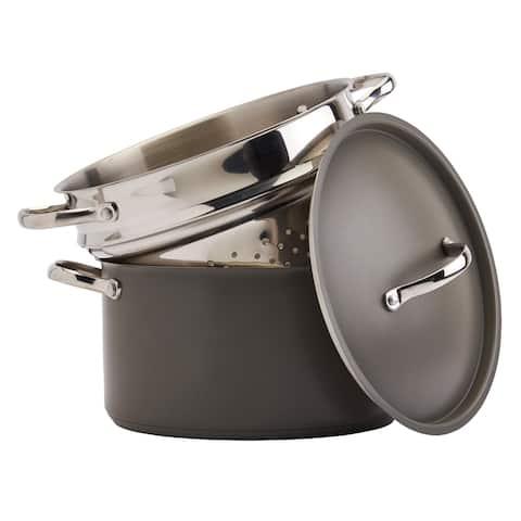 Denmark Bristol 3PC 6Qt Stainless Steel Pasta Cooker - Grey