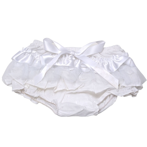 Baby Girls White Solid Color Ruffle Lace Bow Diaper Cover Bloomers 0-6M