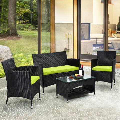 4 Pieces Outdoor Patio Furniture Sets All Weather Rattan Chair Wicker Set