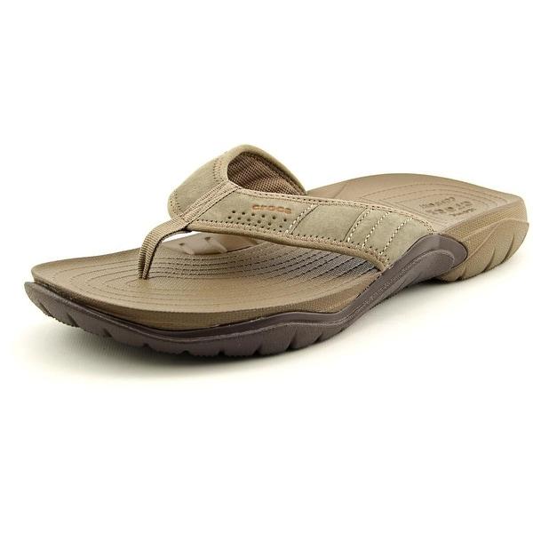 Crocs Swiftwater Flip Men  Open Toe Suede Brown Flip Flop Sandal