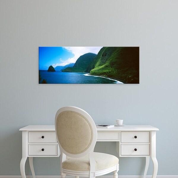 Easy Art Prints Panoramic Images's 'Cliffs, Kalawao, Pacific Ocean, Kalaupapa Peninsula, Molokai, Hawaii' Canvas Art