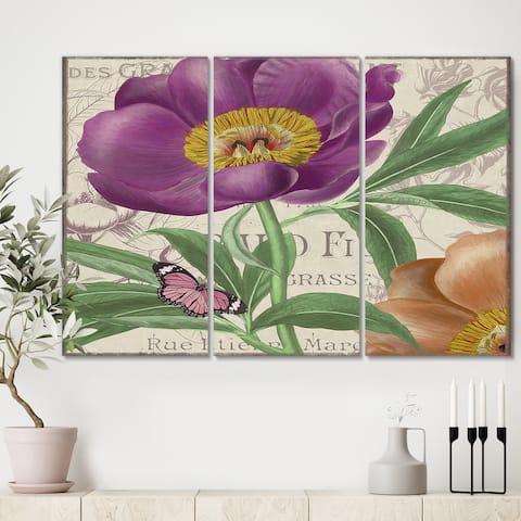 Designart 'Vintage Flowers IV' Cottage Gallery-wrapped Canvas - 36x28 - 3 Panels
