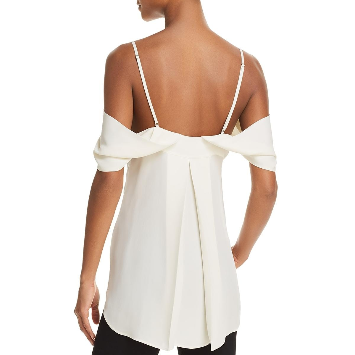 Theory Womens Silk Cold Shoulder Blouse