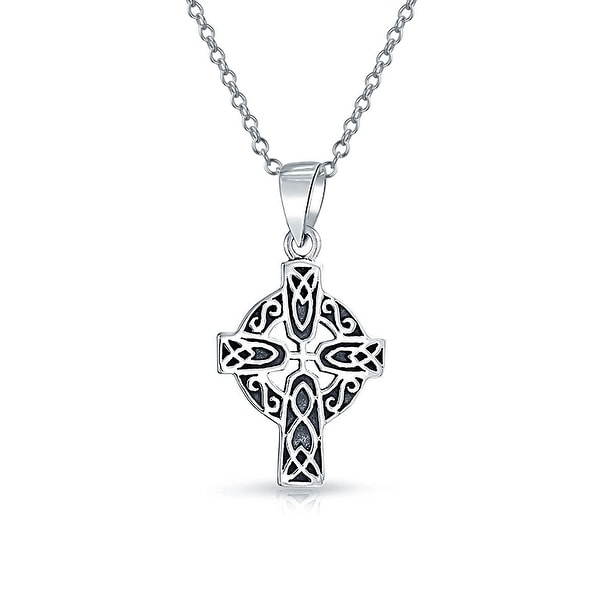 """Celtic Cross Pendant With  925 Silver  18/"""" Chain ! 925 Sterling Silver New !"""