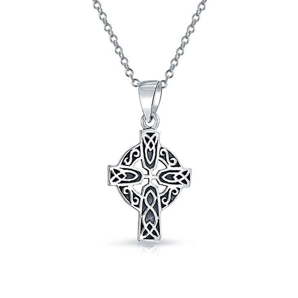 ab4d525d66f91 Celtic Trinity Cross Irish Viking Love Knot Work Pendant Oxidized 925  Sterling Silver Necklace 18 In