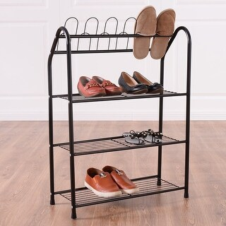 Costway Black 4 Tire Metal Shoe Tower Shelf Storage Rack Cabinet Dorm Home Furniture New