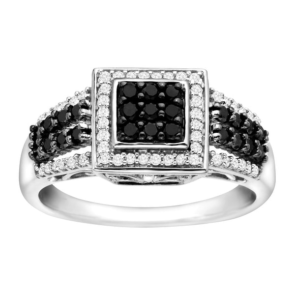 1/2 ct Black and White Diamond Ring in Sterling Silver