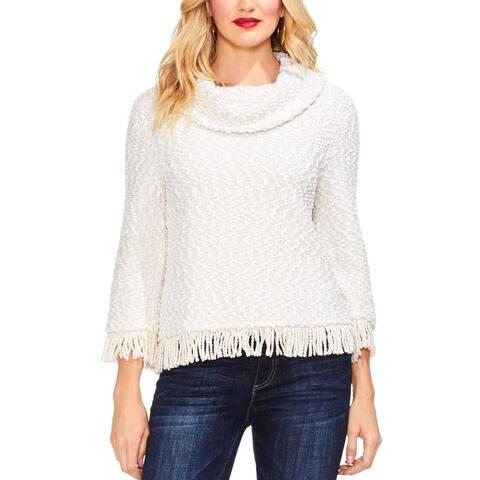 Vince Camuto Womens Pullover Sweater Cowl Neck Fringe Hem