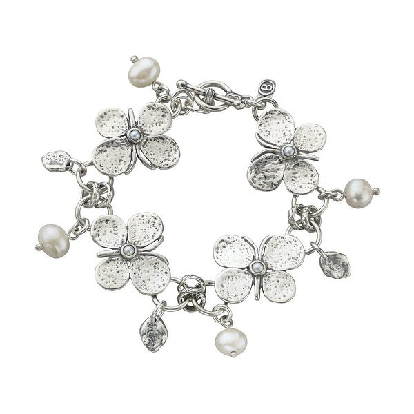 Freshwater Pearl Butterfly Toggle Bracelet in Sterling Silver