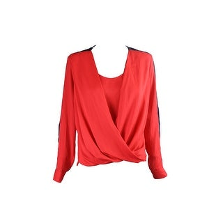 Anne Klein Red L3/4-Sleeve Contrast-Trim Drape-Front Blouse 4