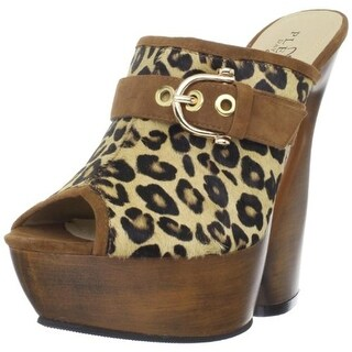 Pleaser Womens Swan Platform Sandals Leather Leopard