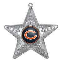 Chicago Bears 4.5 Silver Star Ornament""