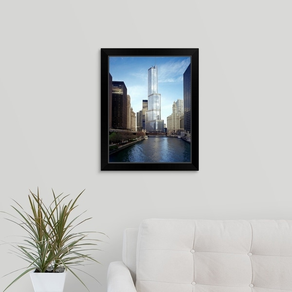 """""""Hotel in a city, Trump International Hotel And Tower, Chicago, Cook County, Illinois"""" Black Framed Print"""