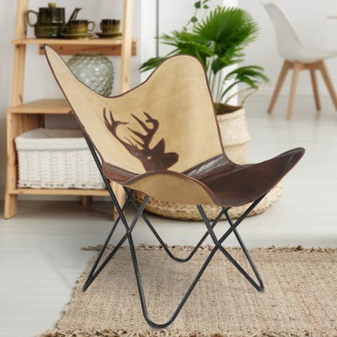 "Deer Canvas and Faux Leather Butterfly Chair - 37"" L x 27"" W x 16"" D"