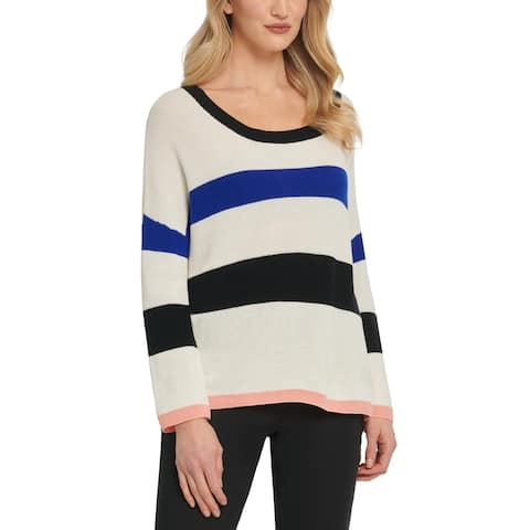 DKNY Womens Pullover Sweater Cotto Striped - White/Black/Blue/Pink