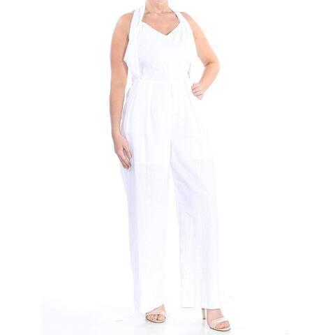 XOXO Women's White Size Medium M Smocked Halter Wide Leg Jumpsuit