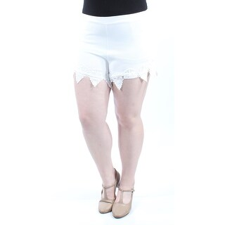 MATERIAL GIRL Womens New 1694 Ivory Lace Cropped Casual Short XL B+B