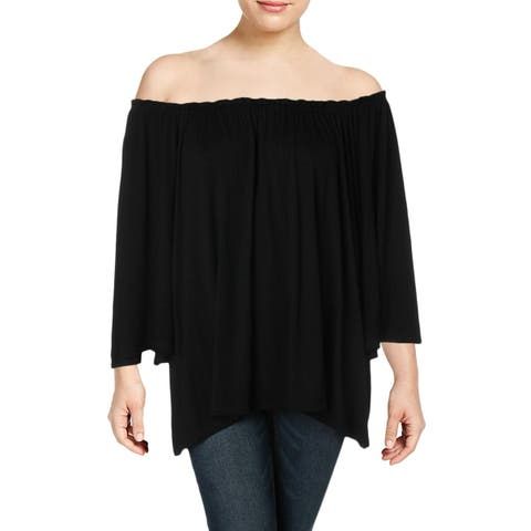 Cupio Womens Plus Pullover Top Off-The-Shoulder Pleated