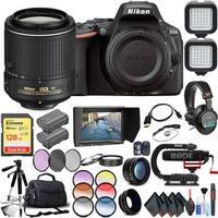 Nikon D5500 DSLR Camera (Body, Black) with Nikon AF-S DX NIKKOR 55-200mm Lens Extreme Video Kit International Model