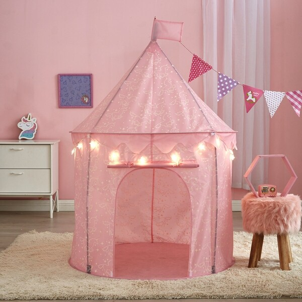 "Glow in the Dark Kids Play Tents with BONUS String Lights - 40"" x 40"" x 51"""