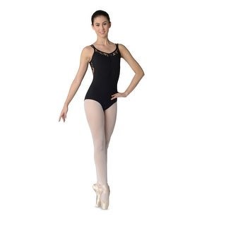 Danshuz Womens Black Lace Insert Double Strap Tactel Microfiber Leotard P-XL